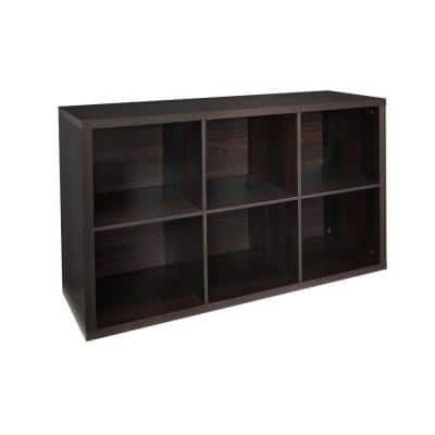 44 in. H x 30 in. W x 14 in. D Black Walnut Wood Look 6-Cube Storage Organizer