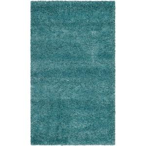 Milan Shag Aqua Blue 3 ft. x 5 ft. Solid Area Rug