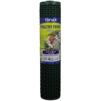 2 ft. x 25 ft. Green Poultry Hex Fence