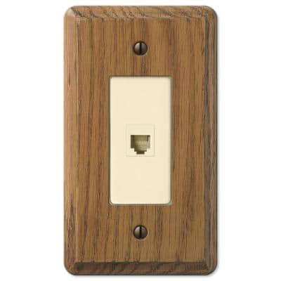 Contemporary 1 Gang Phone Wood Wall Plate - Medium Oak