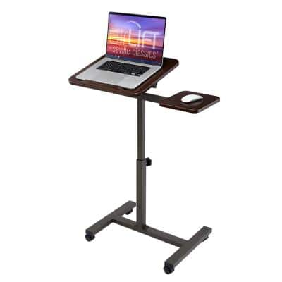 26 in. Walnut Tilting Sit-Stand Computer Desk Cart with Mouse Pad Table