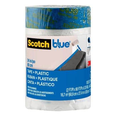 2 ft. x 90 ft. Clear Pre-Taped Painter's Plastic Sheet (Case of 6)