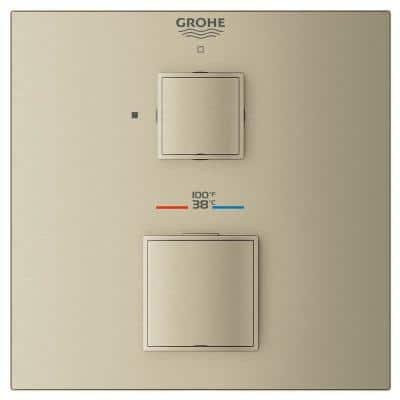 Grohtherm Cube Single Function 2-Handle Trim Kit in Brushed Nickel (Valve Not Included)
