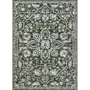 Dazzle Disa Vintage Distressed Oriental Medallion Green 9 ft. 3 in. x 12 ft. 6 in. Area Rug