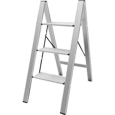 3-Step Aluminum Ultra Slim Folding Utility Step Ladder