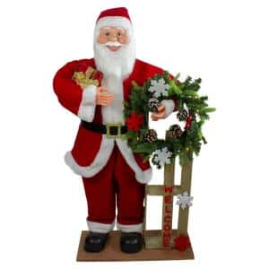 3 ft. Santa Claus Holding a Wooden Sleigh ''Welcome'' Christmas Sign