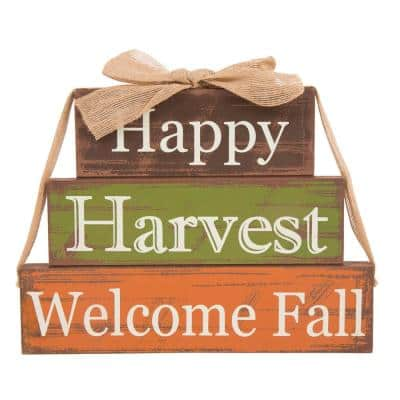 8.85 in. H x 11.81 in. L Wooden Happy Harvest Block Set
