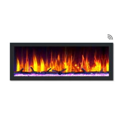 52 in. Cascade Flush-Mount LED Electric Fireplace in Black