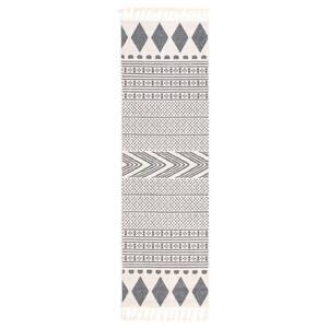 Loop-De-Loop Cruce Grey Tribal Moroccan Geometric 2 ft. 3 in. x 7 ft. 3 in. Flatweave Runner Rug
