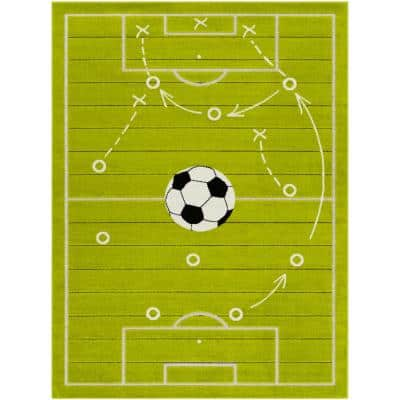 Goal! Green Green 3 ft. 11 in. x 5 ft. 7 in. Area Rug
