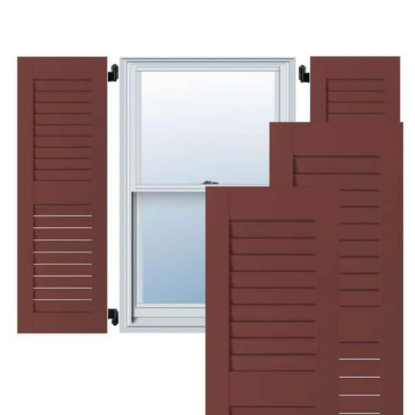 Ekena Millwork 15 In X 31 In Exterior Real Wood Pine Louvered Shutters Pair Cottage Red Rwl15x031crp The Home Depot