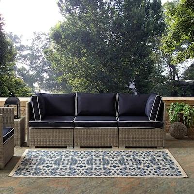Rim in Blue and Beige 4 ft. x 6 ft. Solid Border Indoor/Outdoor Area Rug