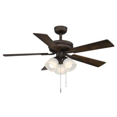 Sinclair II 44 in. Indoor Oil Rubbed Bronze LED Ceiling Fan with Light