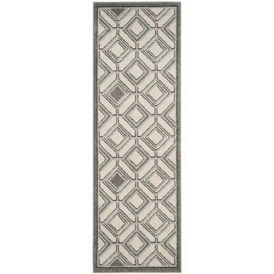 Amherst Ivory/Light Gray 2 ft. x 7 ft. Geometric Diamond Runner Rug