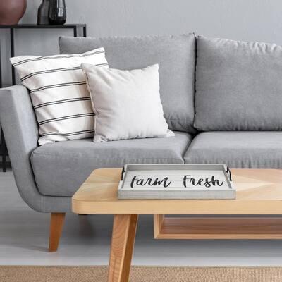 """""""Farm Fresh"""" Gray Wash Decorative Wood Serving Tray"""