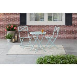 Mix and Match 3-Piece Folding Steel Slat Outdoor Bistro Set in Sea Breeze