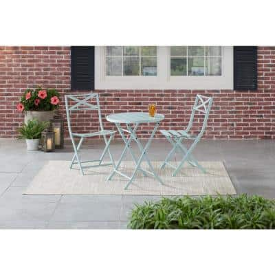 Mix and Match Folding Steel Slat Outdoor Bistro Chairs in Sea Breeze (2-Pack)