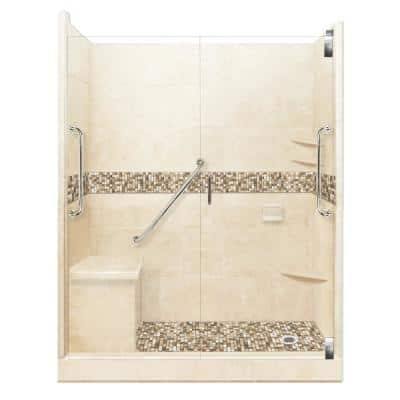 Roma Freedom Grand Hinged 30 in. x 60 in. x 80 in. Right Drain Alcove Shower Kit in Desert Sand and Chrome Hardware