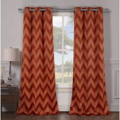 Rust Chevron Thermal Rod Pocket Blackout Curtain - 38 in. W x 84 in. L (Set of 2)