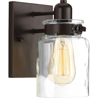 Calhoun Collection 1-Light Antique Bronze Clear Glass Farmhouse Bath Vanity Light