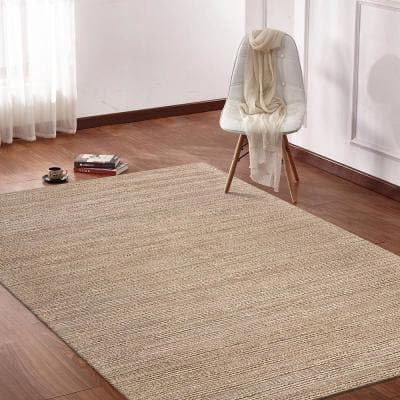 Bleached Naturals Beige Blush 7 ft. 9 in. x 9 ft. 9 in. Braided Natural Jute Area Rug