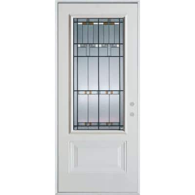 36 in. x 80 in. Architectural 3/4 Lite 1-Panel Painted White Left-Hand Inswing Steel Prehung Front Door