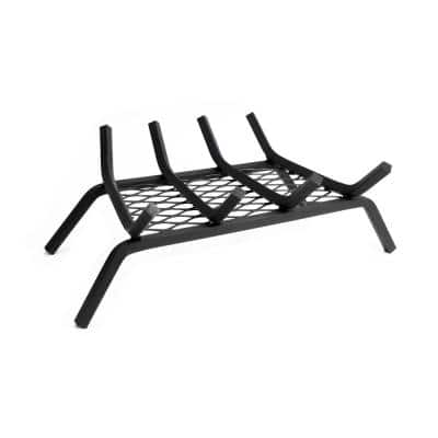 1/2 in. 18 in. 4-Bar Steel Fireplace Grate with Ember Retainer