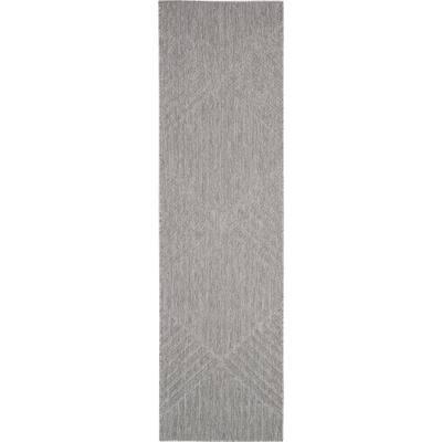 Palamos Light Grey 2 ft. x 10 ft. Geometric Contemporary Indoor/Outdoor Runner Rug