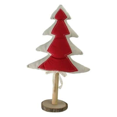14 in. Red and Neutral Christmas Tree with Wooden Base Tabletop Decoration