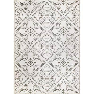 My Texas House Saltillo White Indoor 9 ft. x 13 ft. Area Rug