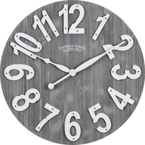 Gray Josephine Slat Wood Farmhouse Clock