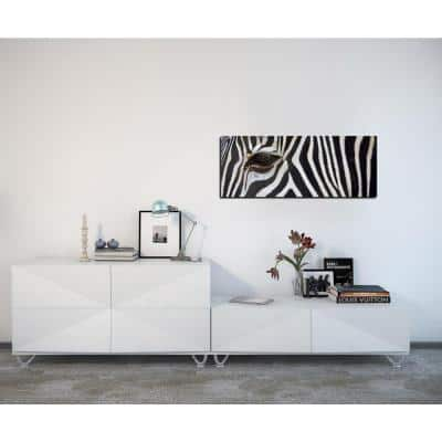 "16 in. x 48 in. ""Zebra"" Frameless Printed Glass Wall Art"