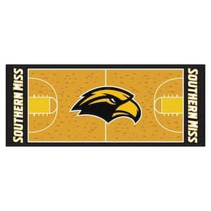 NCAA University of Southern Mississippi Gold 3 ft. x 6 ft. Basketball Runner Rug