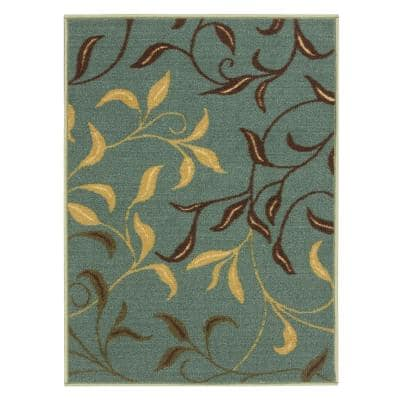 Ottohome Collection Contemporary Leaves Design Seafoam 2 ft. 3 in. x 3 ft. Area Rug