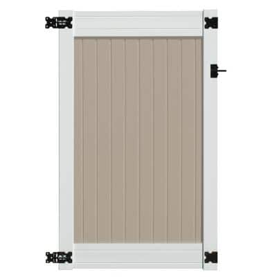 Wexford 3.5 ft. x 6 ft Tan and White Vinyl Privacy Fence Gate