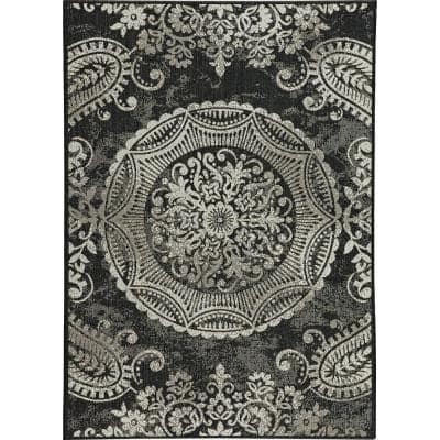 Georgiana Black 5 ft. 3 in. x 7 ft. 4 in. Indoor/Outdoor Area Rug