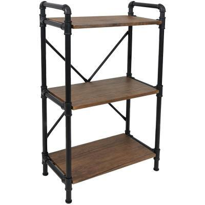 39.75 in. Teak 3-Shelf Standard Bookcase with Black Pipe