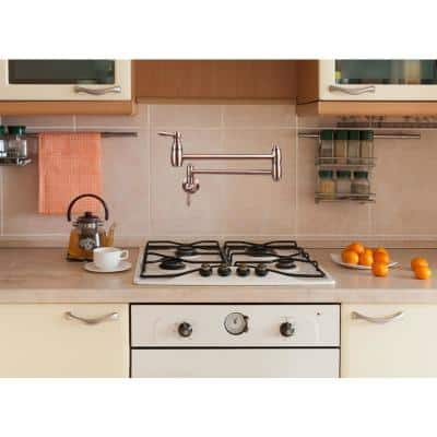 Wall-Mounted Pot Filler Faucet in Copper