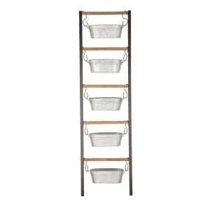 Farmhouse 75 in. x 21 in. Wood and Iron Leaning Ladder with Hanging planters