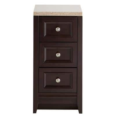 Delridge 14 in. W x 30 in. H Bathroom Vanity in Chocolate with Solid Surface Vanity Top in Caramel