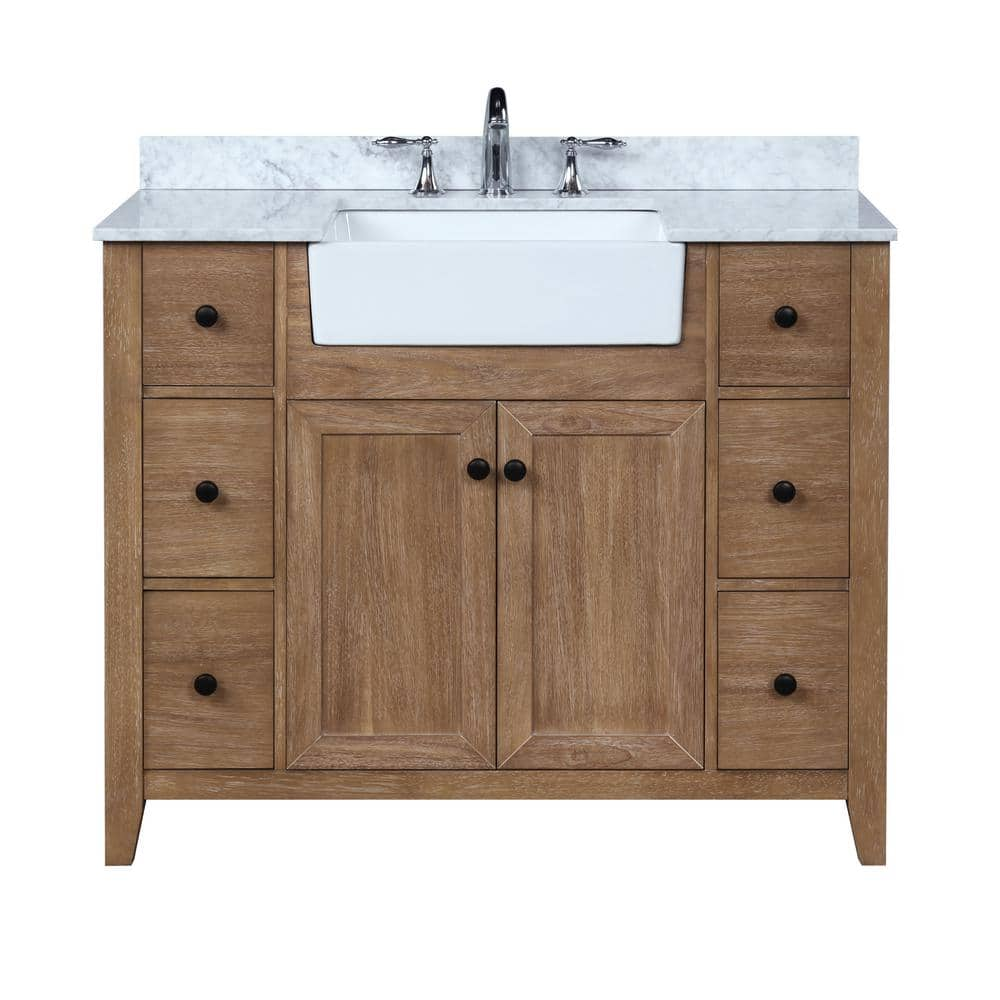 Ari Kitchen And Bath Sally 42 In Single Bath Vanity In Ash Brown With Marble Vanity Top In Carrara White With Farmhouse Basin Akb Sally 42 Ashbr The Home Depot