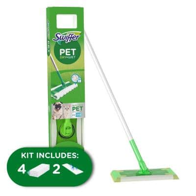 Heavy-Duty Pet Wet\Dry Floor Mopping Cleaning Starter Kit (1 Mop and 4 Pads)