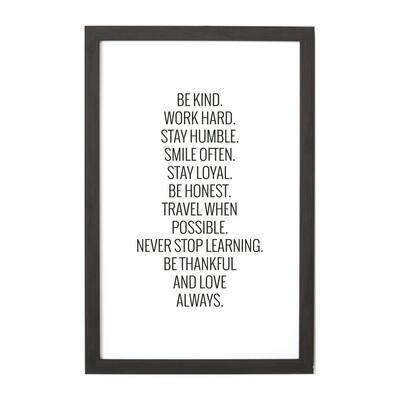 Be Kind, Work Hard Magnet Board, Ebony Frame, Magnetic Memo Board