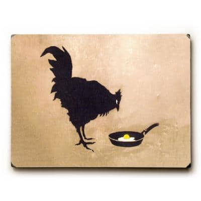 """9 in. x 12 in. """"Chicken And Egg"""" by Banksy Solid Wood Wall Art"""