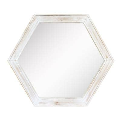 21in x 24in Classic Hexagon Worn White Wood Framed Accent Mirror