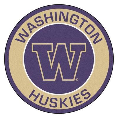 NCAA University of Washington Sandalwood 2 ft. x 2 ft. Round Area Rug