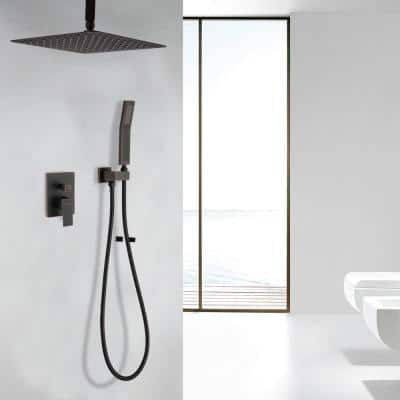 1-Spray Patterns with 2.5 GPM 10 in. Ceiling Mount Dual Shower Heads in Oil Rubbed Bronze (Valve Included)