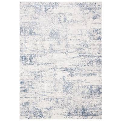 Amelia Ivory/Blue 4 ft. x 6 ft. Abstract Distressed Area Rug