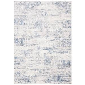 Amelia Ivory/Blue 6 ft. x 9 ft. Abstract Distressed Area Rug