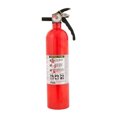Basic Use Fire Extinguisher with Easy Mount Bracket & Strap, 1-A:10-B:C, Dry Chemical, One-Time Use, 2-Pack